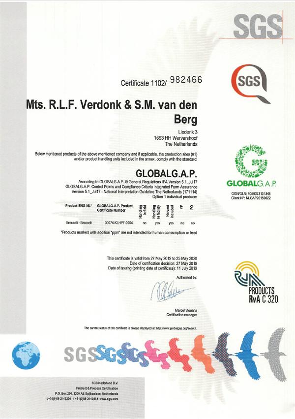GlobalGap certificaat